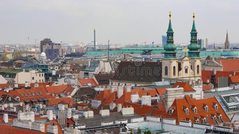 Wiedeń linia horyzontu, Austria lotniczy Vienna widok Austria Wiedeń Wien jest kapitałowym i wielkim miastem Austria jeden 9, i obrazy stock