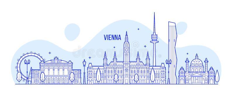 Wiedeń linii horyzontu Austria miasta budynki wektorowi ilustracja wektor