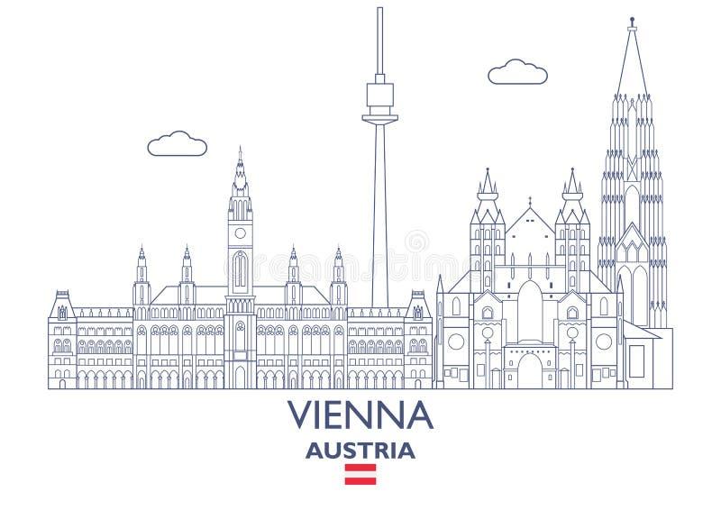 Wiedeń miasta linia horyzontu, Austria ilustracja wektor