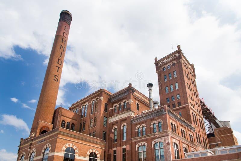 Wieder hergestellte Schmidt-Brauerei lizenzfreie stockfotos