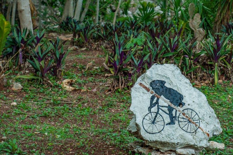 Wieder hergestellter Felsen, ein junges Maya auf einem Fahrrad darstellend, eingelassen den Ruinen des archäologischen Bereichs v stockfotos