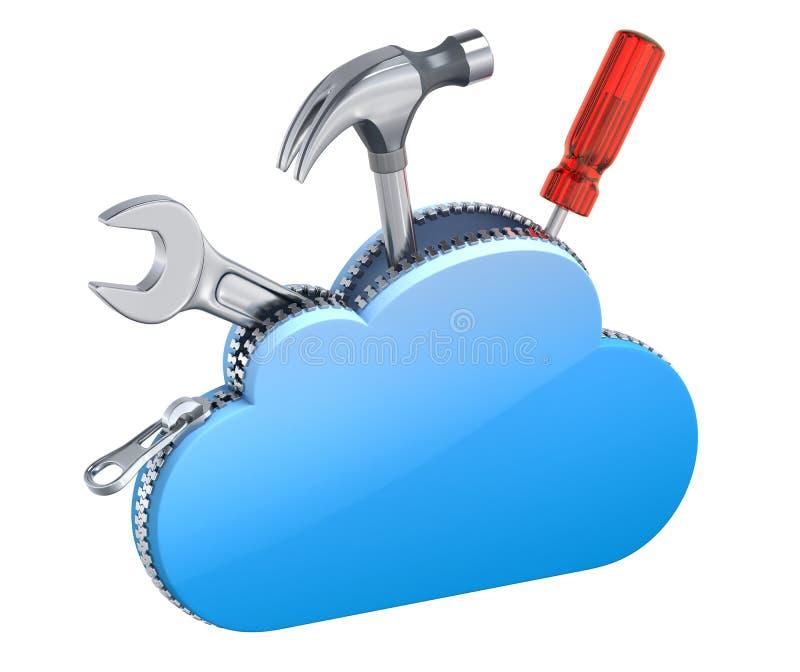 Wiederanlaufkonzept mit der Wolkendatenverarbeitung lizenzfreie abbildung