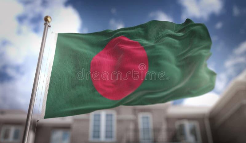 Wiedergabe Bangladesch-Flaggen-3D auf blauer Himmel-Gebäude-Hintergrund lizenzfreies stockbild
