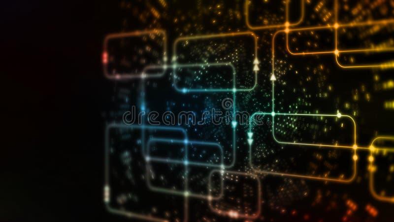 Wiedergabe 3D abstrakter Technologie Digital Buntes Computer-Software Flussdiagramm auf Datenwissenschafts-Systemdiagrammhintergr lizenzfreie abbildung