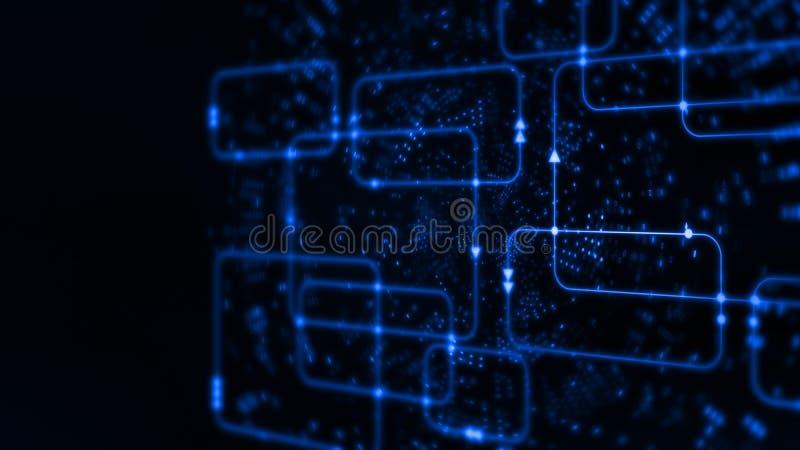 Wiedergabe 3D abstrakter Technologie Digital Buntes Computer-Software Flussdiagramm auf Datenwissenschafts-Systemdiagrammhintergr vektor abbildung