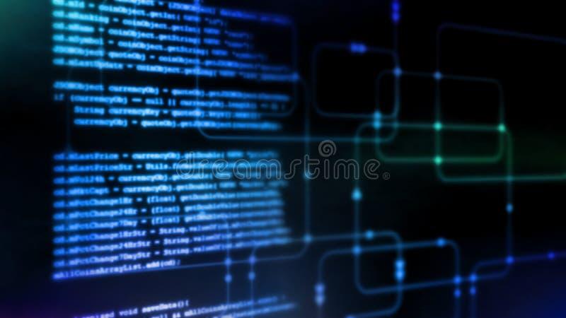 Wiedergabe 3D abstrakter Technologie Digital Programmierungsbinäres Kodierungsstückchen des skriptes auf glühendem Software-Fluss vektor abbildung
