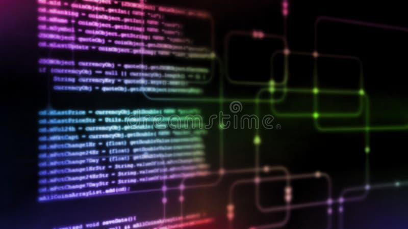 Wiedergabe 3D abstrakter Technologie Digital Programmierungsbinäres Kodierungsstückchen des skriptes auf glühendem Software-Fluss stock abbildung