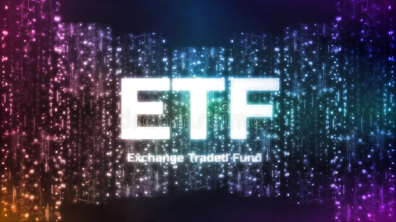 Wiedergabe 3D Austausch gehandelten Kapital ETF-Textes auf abstraktem digitalem Stadtkonzept vektor abbildung
