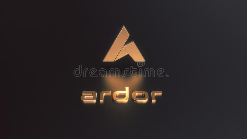Wiedergabe 3D Begeisterung cryptocurrency goldenen Logos lizenzfreie abbildung