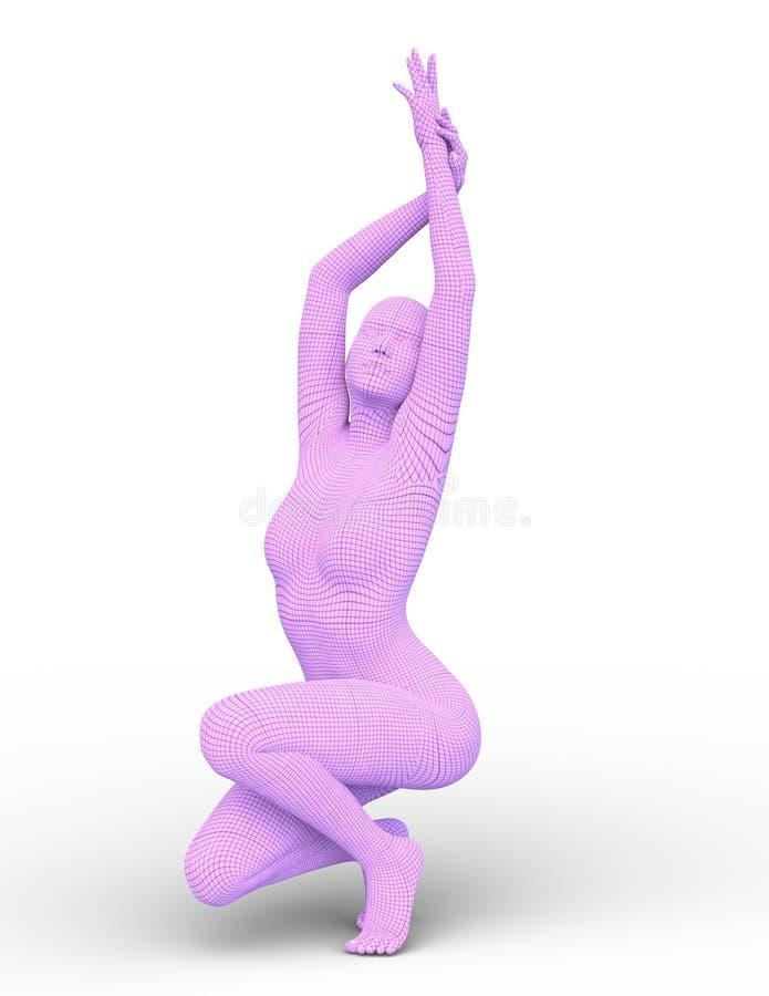 Wiedergabe 3D CG von angekleidet in der rosa Frau vektor abbildung