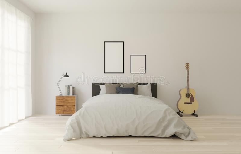 Wiedergabe 3D Dachboden-Artschlafzimmer mit weißer Wand, Bretterboden, großes Fenster, Gitarre, Rahmen für Spott oben lizenzfreie abbildung