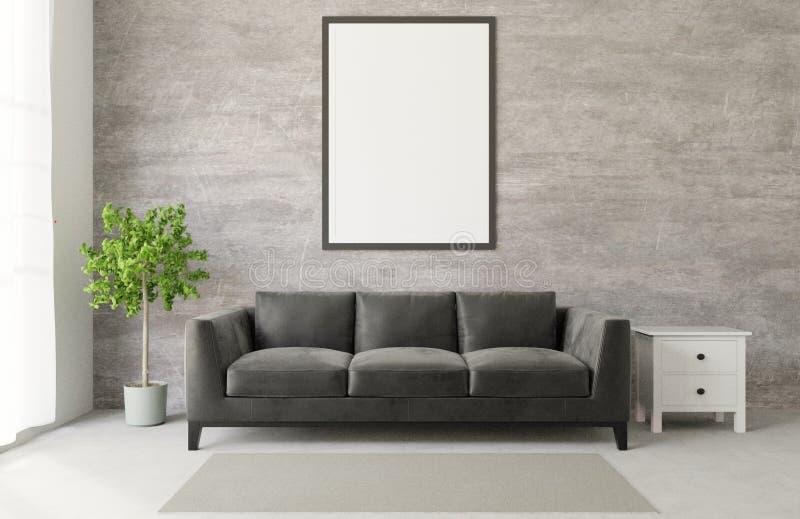 Wiedergabe 3D Dachboden-Artwohnzimmer mit rohem Beton des großen schwarzen Sofas, Bretterboden, großes Fenster, Baum, Rahmen, Sch vektor abbildung