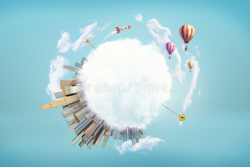 Wiedergabe 3d der bedeckten Erdkugel mit großen modernen Stadt- und Verkehrsschildern und Weltraumrakete und Heißluftballonen her stock abbildung