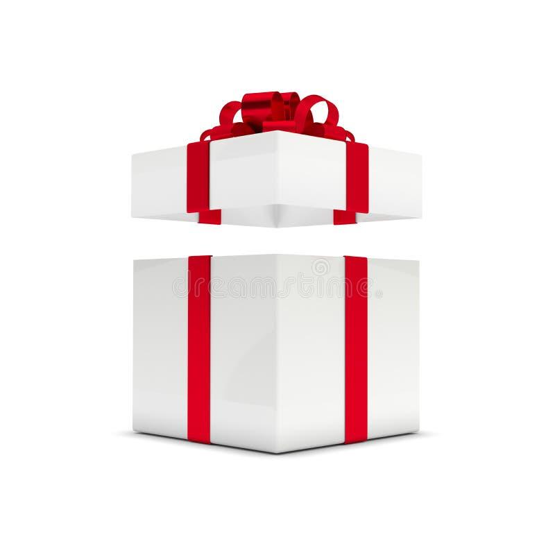 Wiedergabe 3d der Geschenkbox mit dem offenen Deckel lokalisiert über Weiß stock abbildung