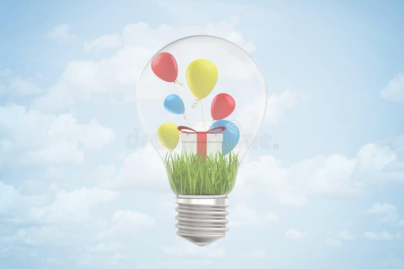 Wiedergabe 3d der Glühlampe mit grünem Gras, Geschenkbox und bunten Ballonen nach innen, gegen blauen Himmel mit Wolken vektor abbildung