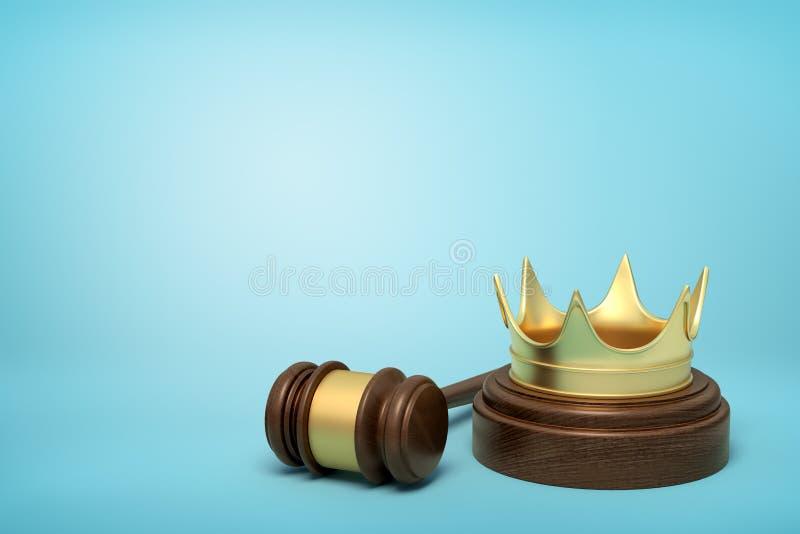 Wiedergabe 3d der goldenen Krone auf rundem Holzklotz und braunem hölzernem Hammer auf blauem Hintergrund lizenzfreies stockfoto