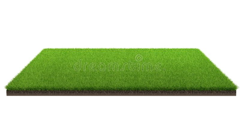 Wiedergabe 3d der grünen Rasenfläche lokalisiert auf einem weißen Hintergrund mit Beschneidungspfad Sportfeld stockfotografie