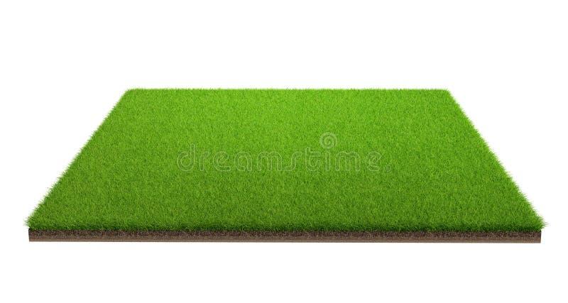 Wiedergabe 3d der grünen Rasenfläche lokalisiert auf einem weißen Hintergrund mit Beschneidungspfad Sportfeld stockfotos