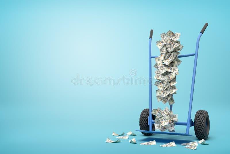 Wiedergabe 3d der Hand-LKW-Stellung in der halben Drehung mit dem Ausrufezeichen gebildet von den Dollarbanknoten auf ihm auf hel vektor abbildung