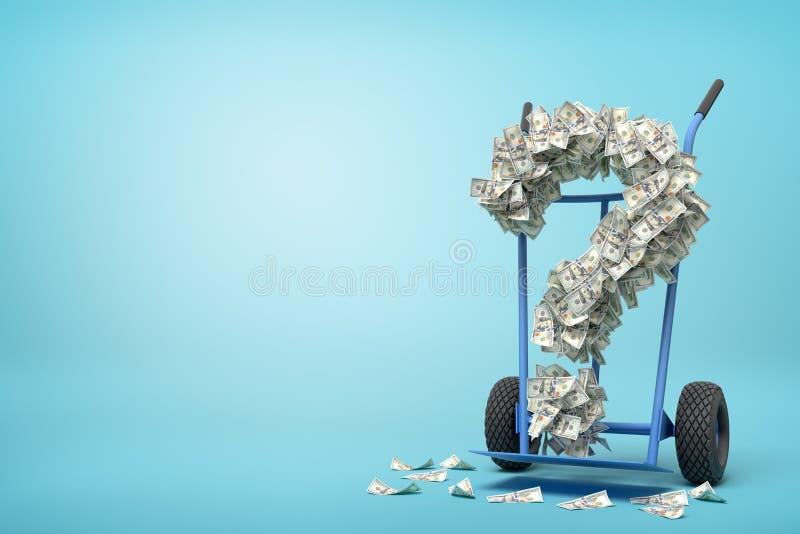 Wiedergabe 3d der Hand-LKW-Stellung in der halben Drehung mit dem Fragezeichen gebildet von den Dollarbanknoten auf ihm auf hellb stock abbildung