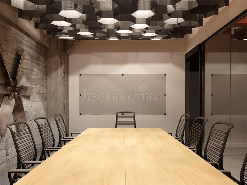 Wiedergabe 3d der Innenarchitektur der städtischen Dachbodenbüroteamwork-Hallenidee stock abbildung
