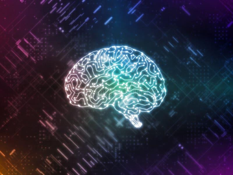 Wiedergabe 3D der künstlichen Intelligenz AI funktioniert mit abstrakten Daten Glühender Gehirnstromkreis stock abbildung