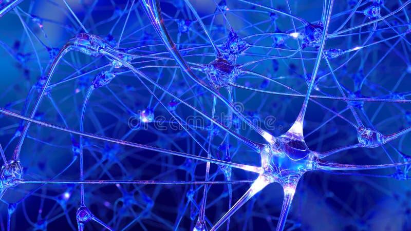 Wiedergabe 3D der künstlichen Intelligenz Netze von künstlichen Nervenzellen und von Synapsen stock abbildung