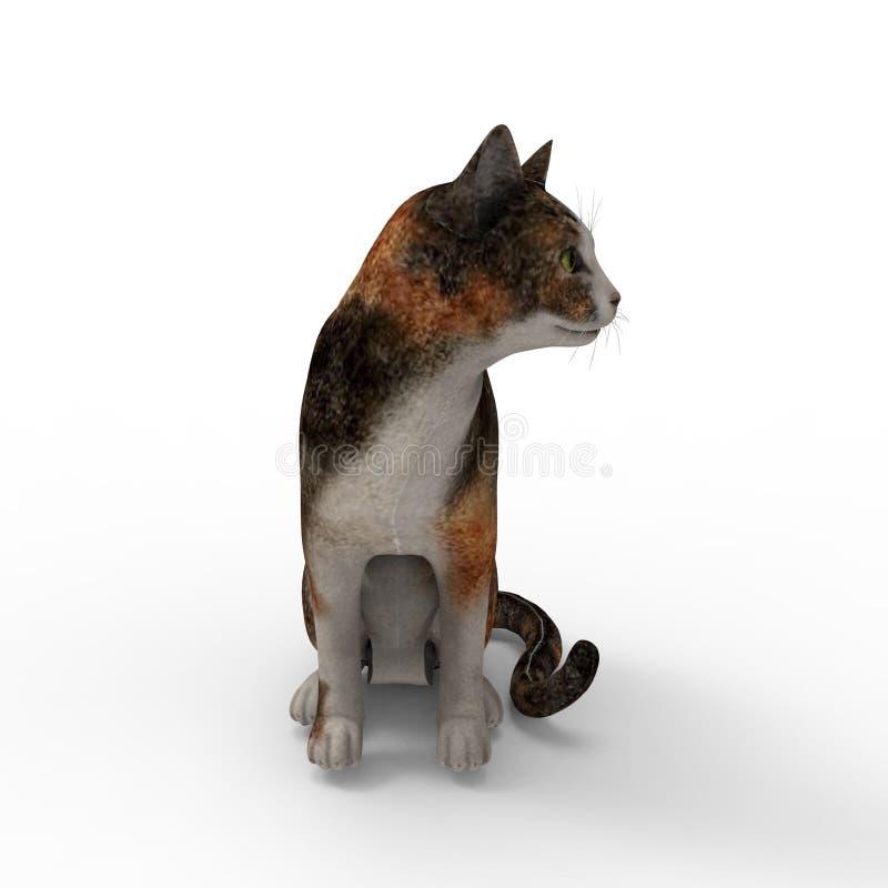 Wiedergabe 3d der Katze geschaffen durch die Anwendung eines Mischmaschinenwerkzeugs vektor abbildung