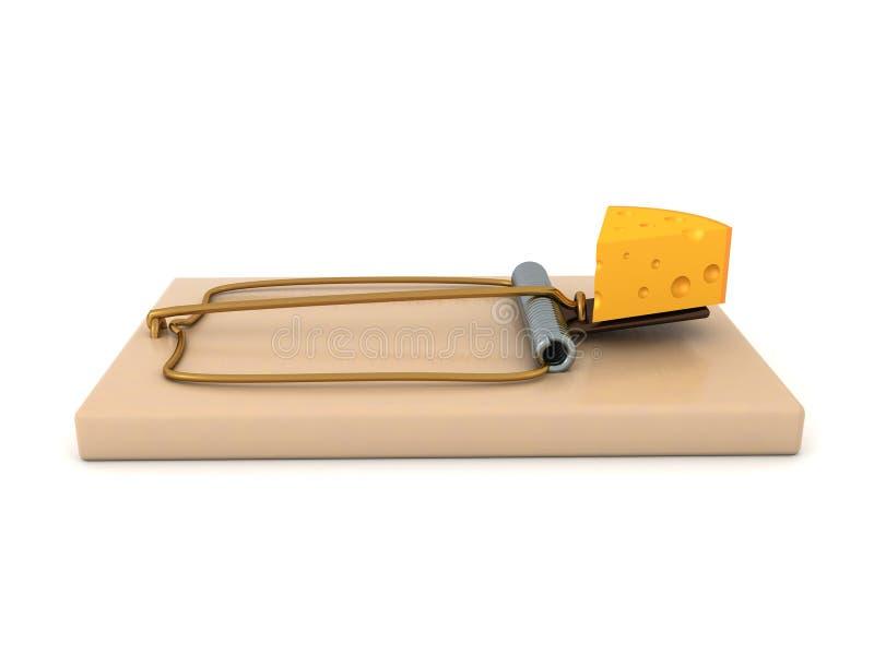 Wiedergabe 3D der klassischen Mausefalle mit einem Stück Käse als Köder lizenzfreie abbildung