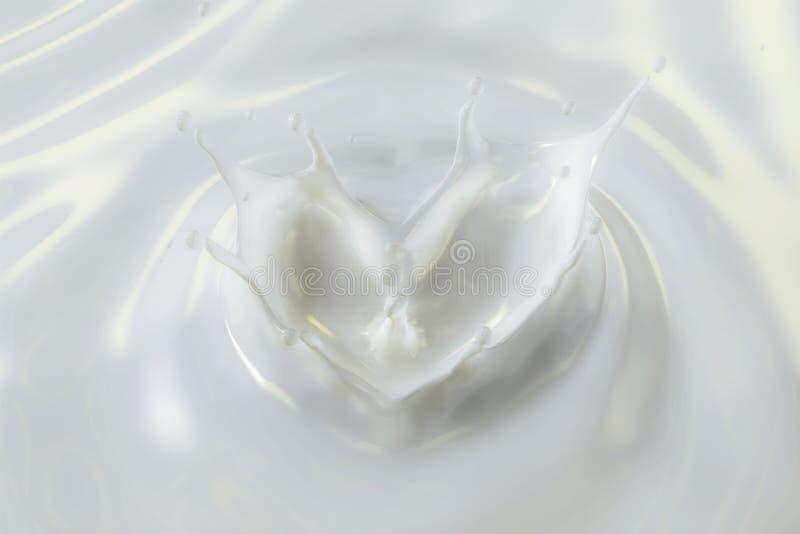 Wiedergabe 3D der milchigen Lotion mit Herz-Form-Spritzen lizenzfreie stockfotos