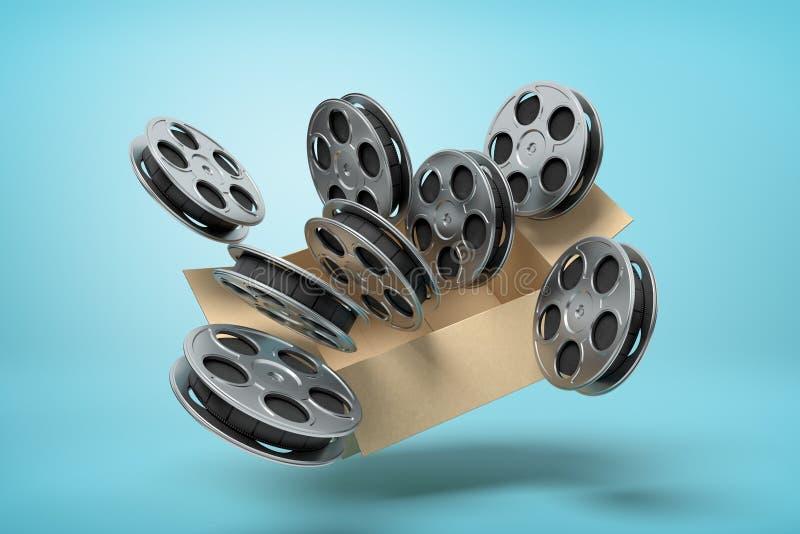 Wiedergabe 3d der Pappschachtel in einer Luft voll von den Filmrollen, die heraus fliegen und draußen auf blauen Hintergrund schw vektor abbildung