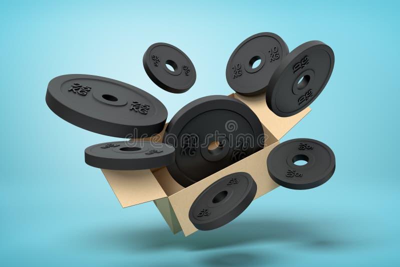 Wiedergabe 3d der Pappschachtel in einer Luft voll von den schwarzen Gewichtsplatten, die heraus fliegen und draußen auf Blau sch stock abbildung