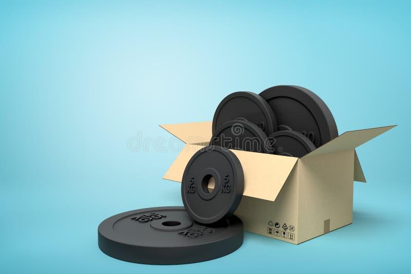 Wiedergabe 3d der Pappschachtel voll schwarzer Gewichtsplatten mit zwei Platten draußen auf hellblauem Hintergrund stock abbildung