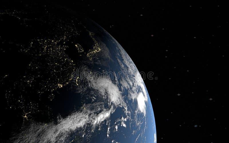 Wiedergabe 3d der Planetenerde mit den Nachtstädten von China und von Japan, teilweise belichtet durch die Sonne, die Elemente si stock abbildung
