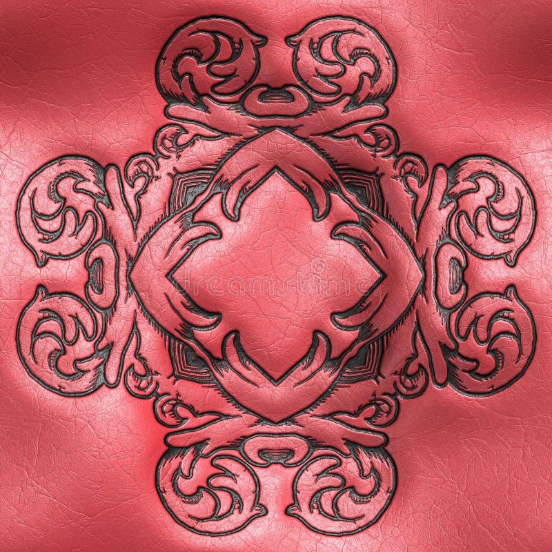 Wiedergabe 3D der Plastikhintergrundfliese mit Weinleseverzierung vektor abbildung