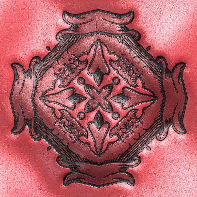 Wiedergabe 3D der Plastikhintergrundfliese mit Weinleseverzierung stock abbildung