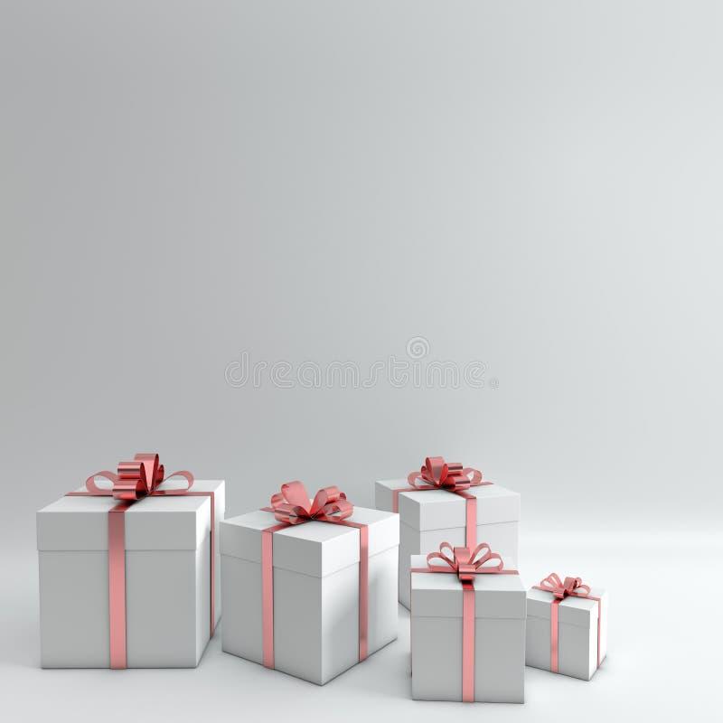 Wiedergabe 3d der realistischen weißen Geschenkbox mit rosa glattem Bandbogen auf weißem Studiohintergrund Leerer Raum für Partei lizenzfreie abbildung