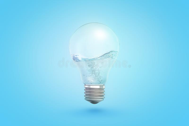 Wiedergabe 3d der transparenten Glühlampe mit flüssigem Innere auf blauem Hintergrund lizenzfreie abbildung