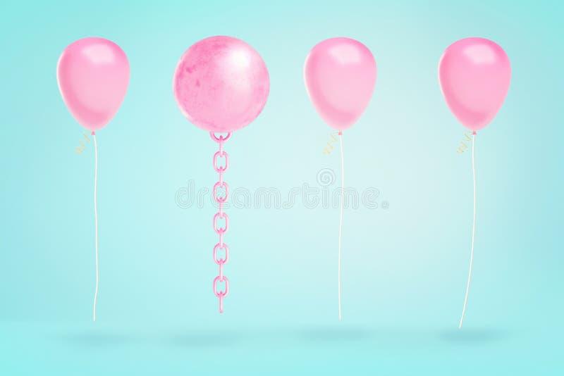 Wiedergabe 3d der umgeworfenen rosa Abrissbirne hängt an einem blauen Hintergrund unter einigen rosa Parteiballonen stockbilder