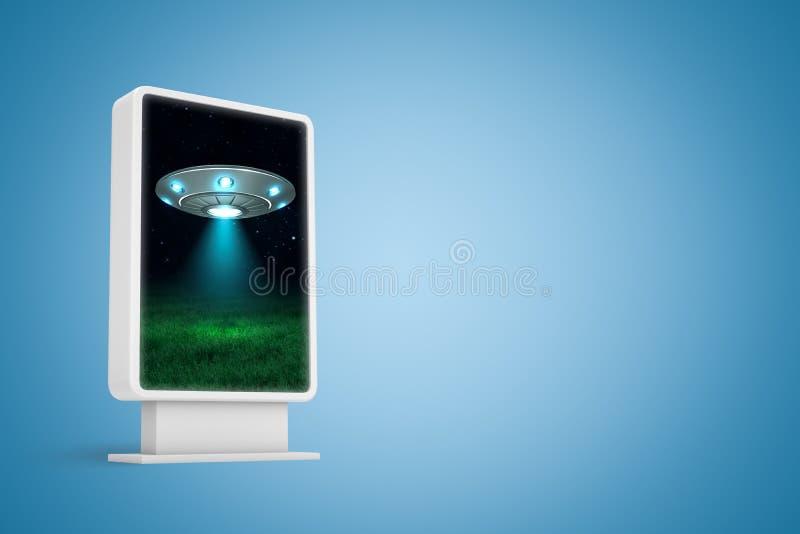 Wiedergabe 3d der vertikalen Anschlagtafel mit silbernem Metall-UFO auf dunklem Plakat des nächtlichen Himmels auf blauem Hinterg lizenzfreie abbildung