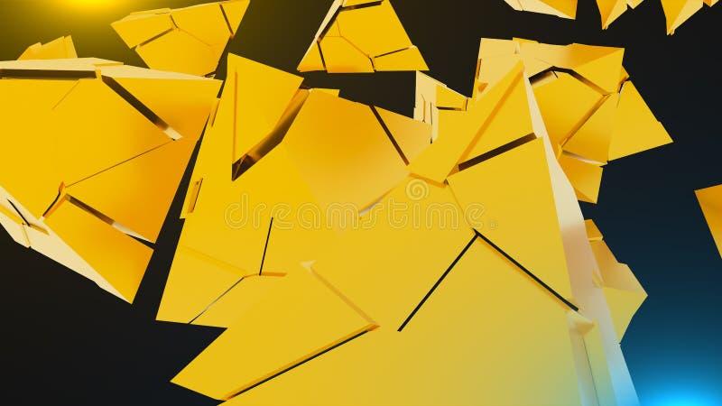 Wiedergabe 3D des abstrakten chaotischen Goldpyramiden-Hintergrundes vektor abbildung