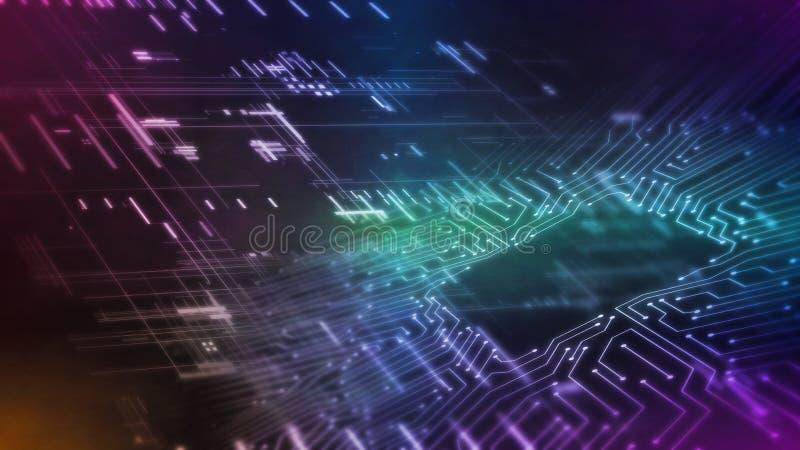 Wiedergabe 3D des abstrakten Technologiehintergrundes mit glühendem Rechnerschaltungsbrett und Rechteckgeometrie und -linien vektor abbildung