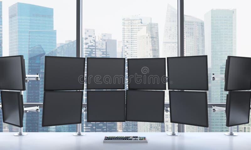 Wiedergabe 3D des Büros mit geschaltet weg von den Monitoren, DA verarbeitend stock abbildung