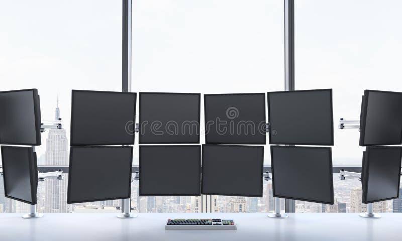 Wiedergabe 3D des Büros mit geschaltet weg von den Monitoren, DA verarbeitend lizenzfreie abbildung