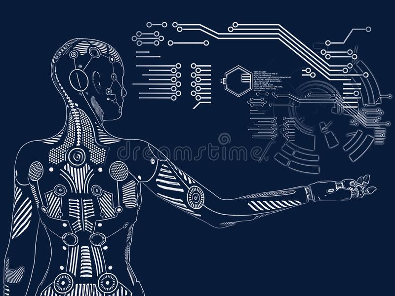 Wiedergabe 3D des digitalen Konzeptes des weiblichen Roboters lizenzfreie abbildung