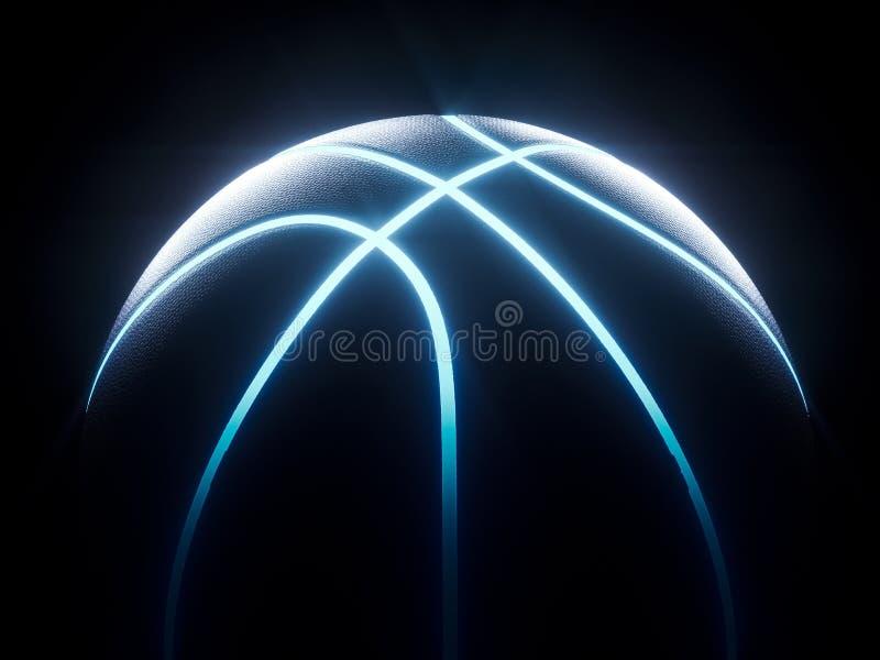 Wiedergabe 3D des futuristischen Neonbasketballs, der in der Dunkelheit sitzt vektor abbildung