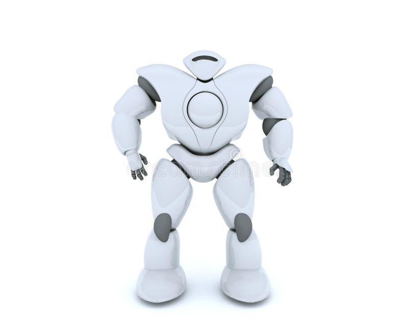 Wiedergabe 3D des futuristischen Roboterisolats auf Weiß lizenzfreie abbildung