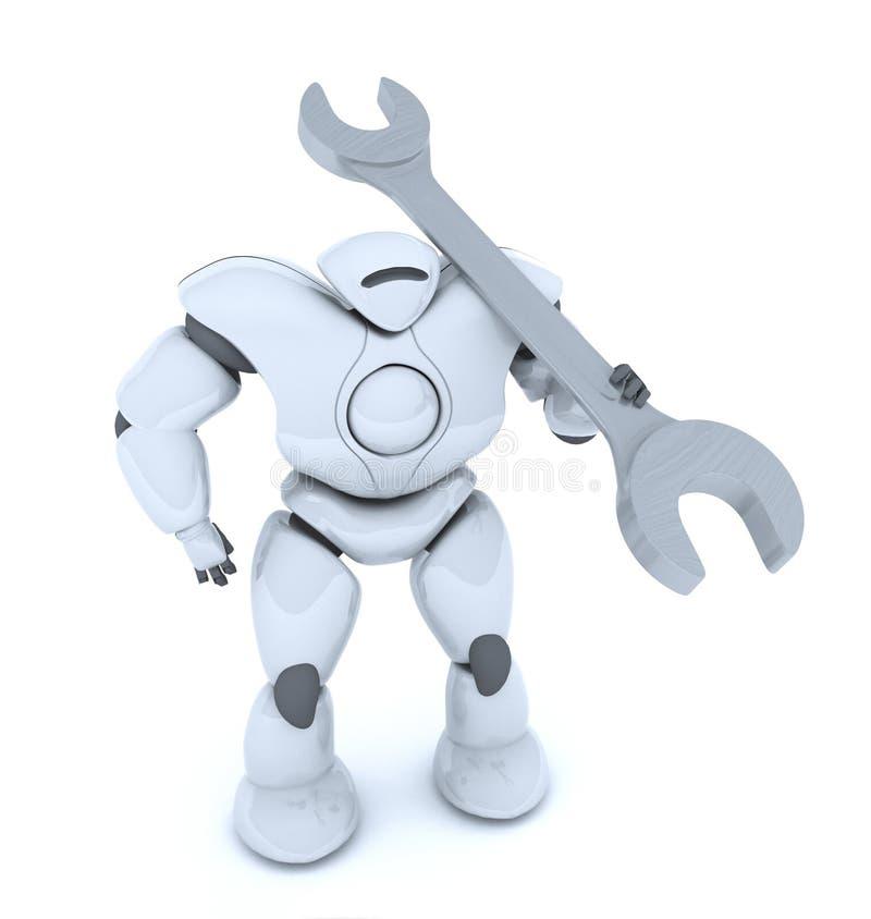 Wiedergabe 3D des futuristischen Roboters mit einem Schlüssel in seiner Hand vektor abbildung