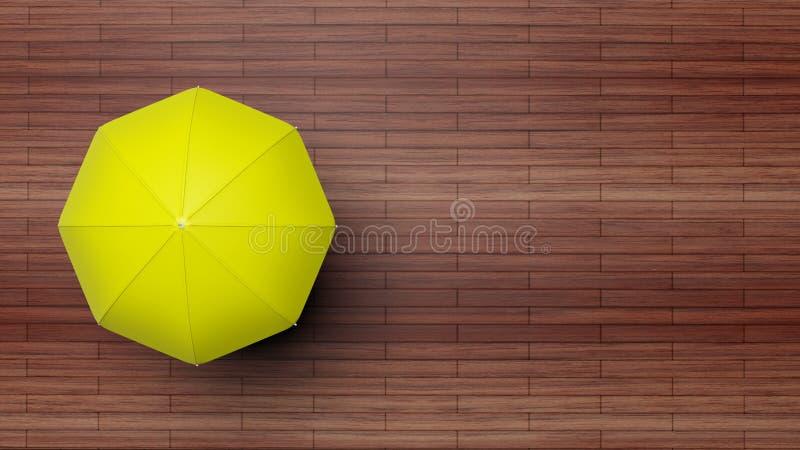 Wiedergabe 3D des gelben Regenschirmes auf Holzoberfläche stock abbildung