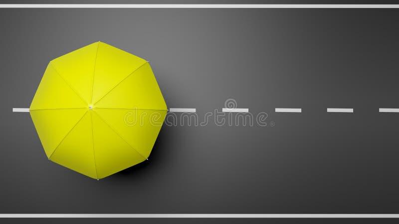 Wiedergabe 3D des gelben Regenschirmes auf Straße vektor abbildung